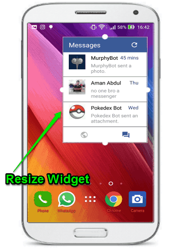 resize widget