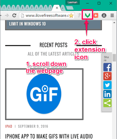 scroll down webpage and click extension icon to remember position