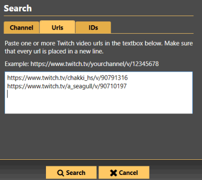 search for a Twitch video