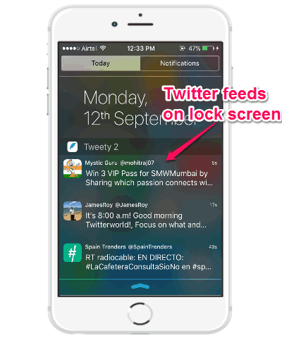 see twitter feeds on lock screen