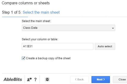 select main sheet and range
