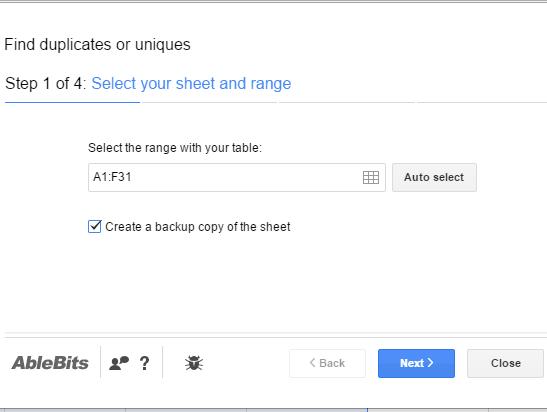 select sheet and range