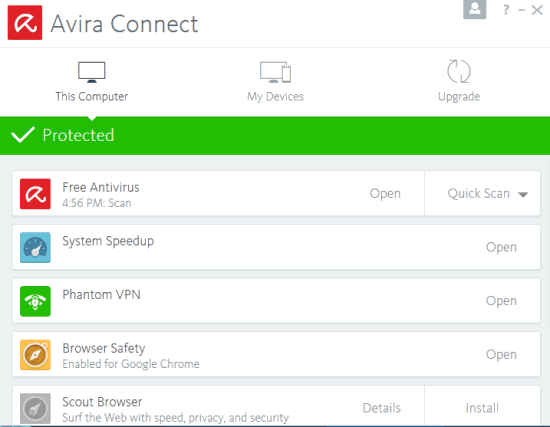 Avira Free Security Suite 2017- main interface