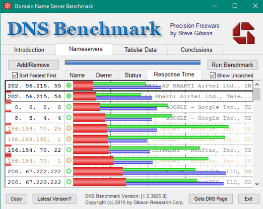 DNS Benchmark- interface