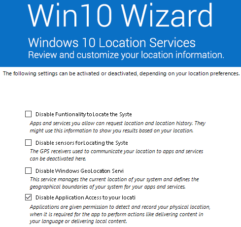 Windows 10 location services options