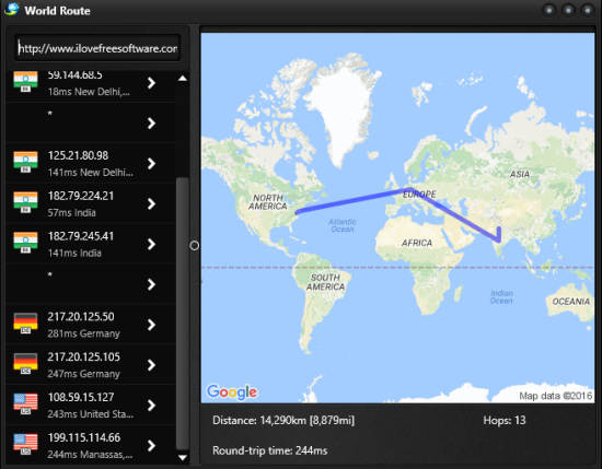 check route details of a particular website
