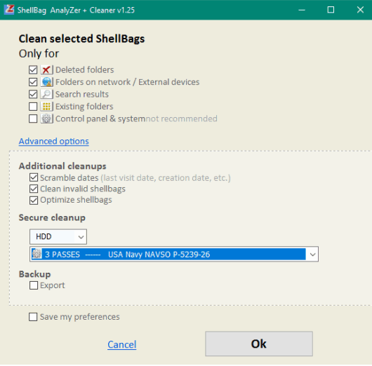 clean selected shellbags