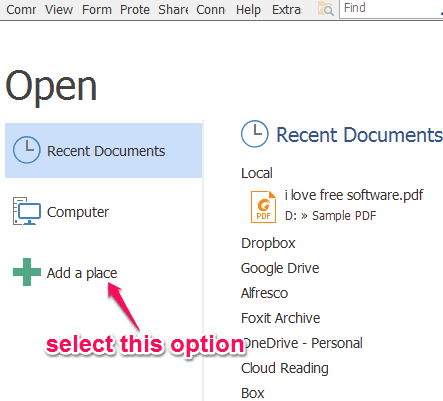 click on add a place option