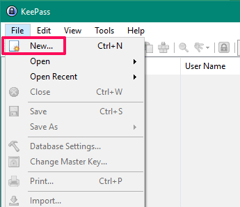 create a new keepass database