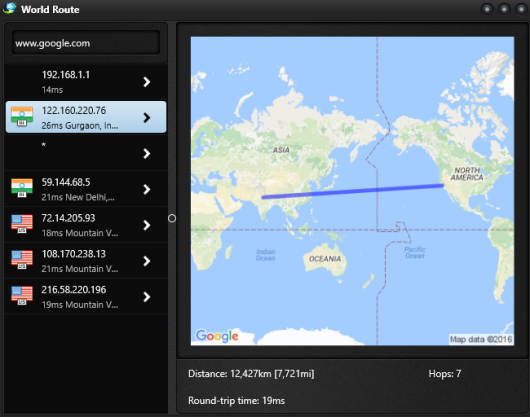 enter ip address and get route details