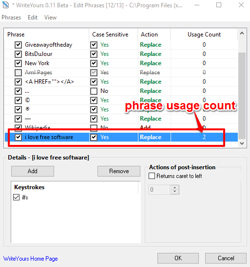 find how many times a phrase is used
