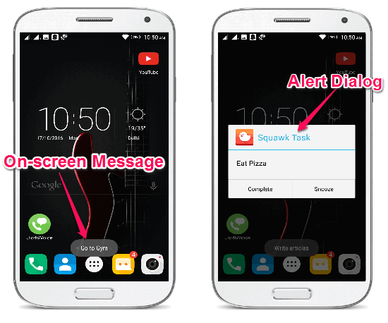 get reminders on phone screen