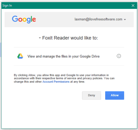 login and give permisssion to foxit reader