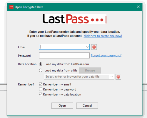 login to your LastPass account