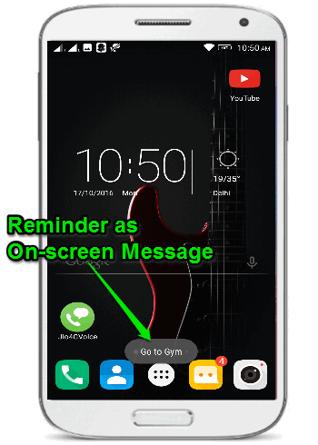 on screen message