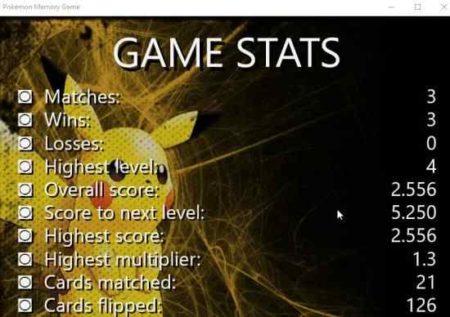 pokemon memory game stats