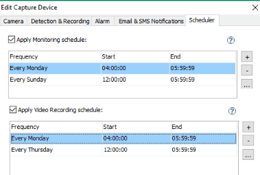Scheduding video recording and monitoring