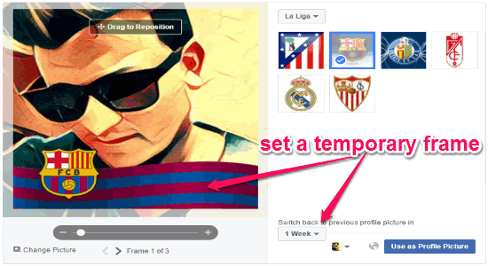 set a temporary frame on facebook profile picture