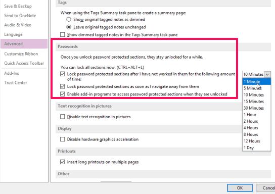 set password options