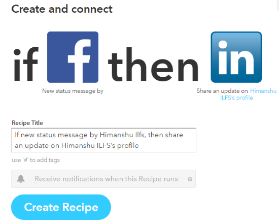 keep Facebook posts synced with LinkedIn