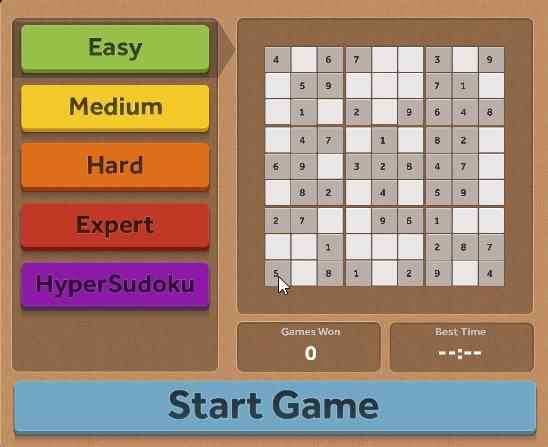 Windows 10 Sudoku Puzzle Game App with 5 Difficulty Modes