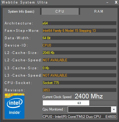 view cpu details