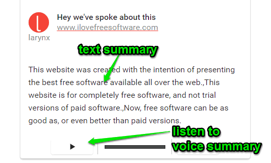 voice summary