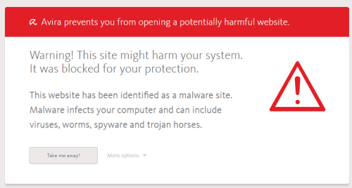 warning message that opens when you try to access malicious site