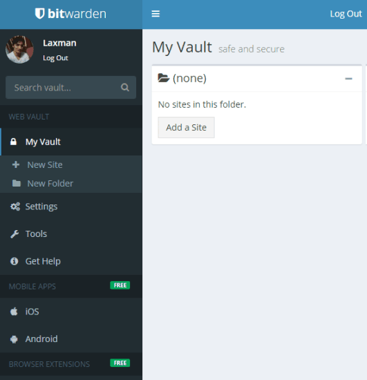 web interface sidebar and main interface