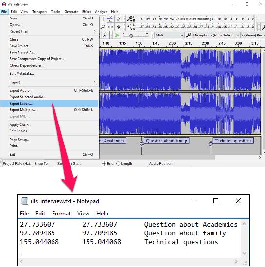 audio bookmark label export