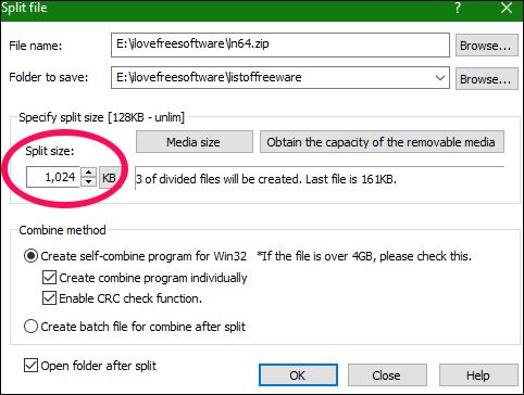 Explzh file split