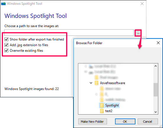 Windows spotlight tool target folder