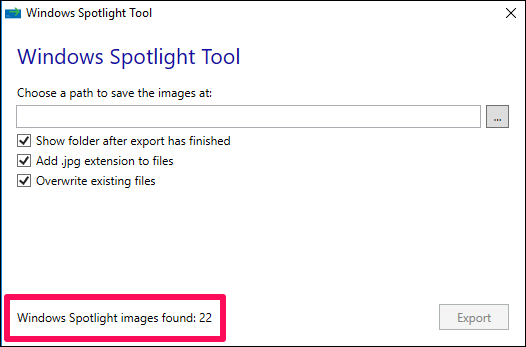 Windows spotlight tool