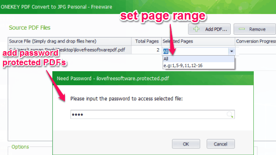add pdf files and set page range