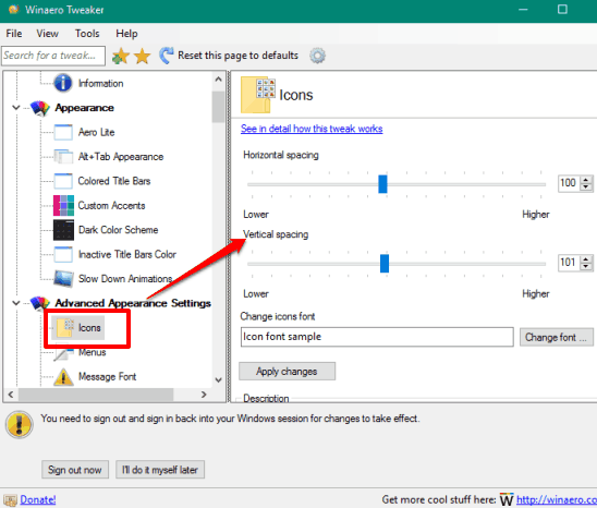 adjust spacing between desktop icons using winaero tweaker