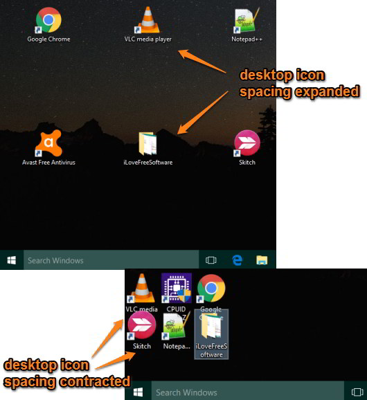change desktop icon spacing in windows 10