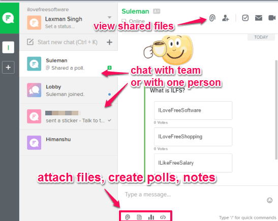 chat and share files with team or a person