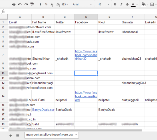 csv file containing email addresses and their social profiles