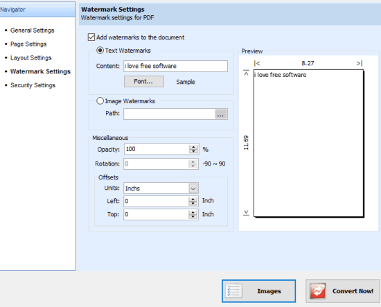 customize settings and convert images to pdf