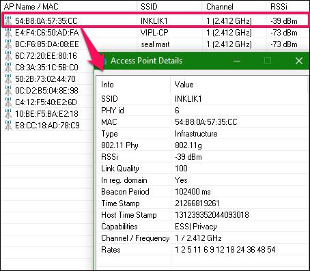 dot11Expert access point details