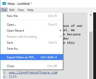 export slides as pdf