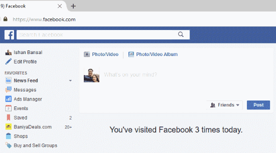 Number of Times Facebook Visited Firefox