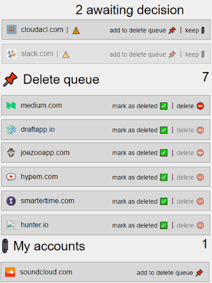 How to delete accounts associated with a Gmail account.