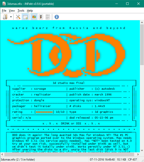 NFO File Viewer with 3 View Modes, Export NFO as PDF, PNG