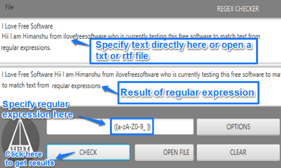 free regular expression checker