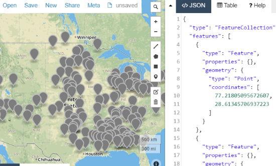 online map to display CSV data