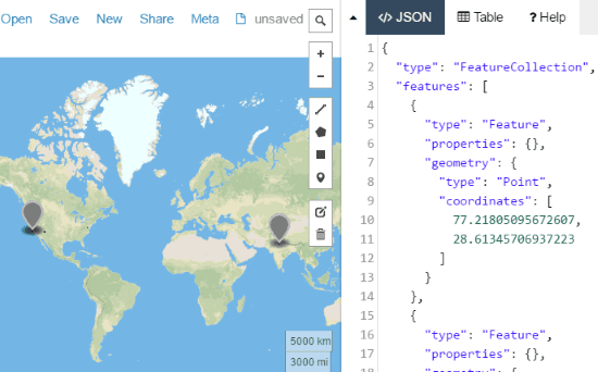 online map to display KML data