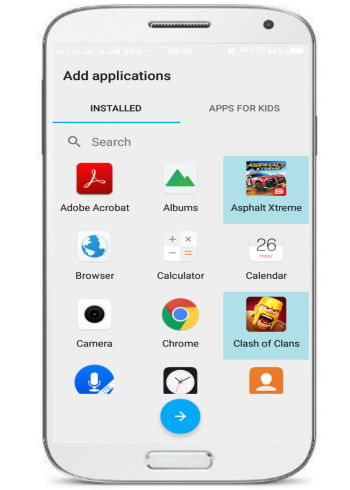 Android launcher for kids with a time limit for app usage