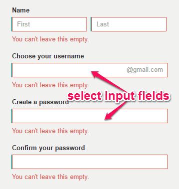 select input fields