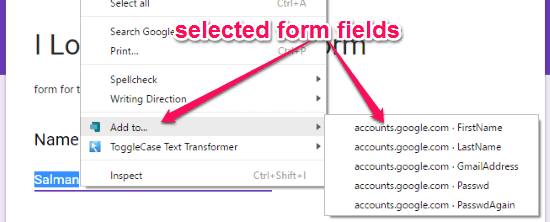 selected form fields